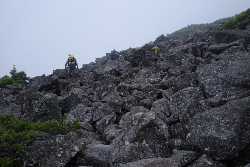 森林限界を超えると岩だらけ