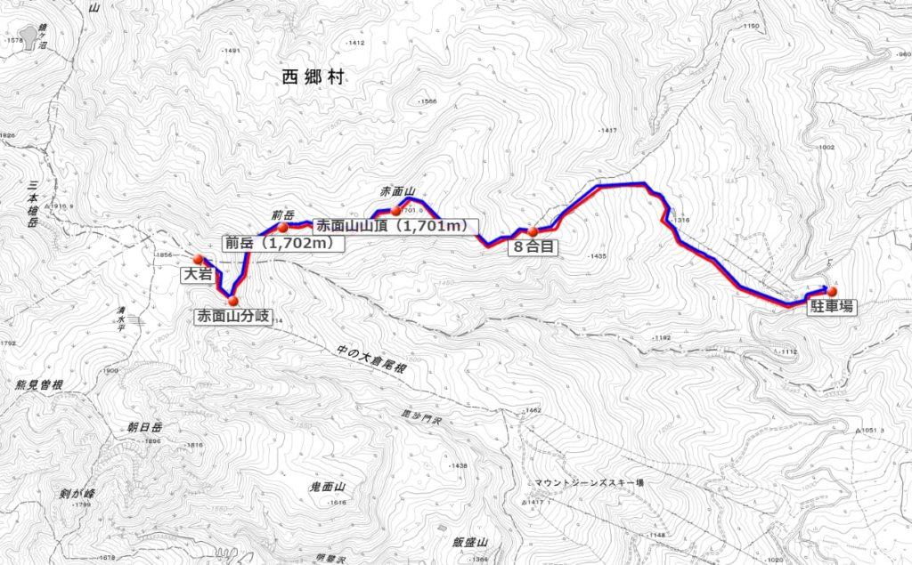 赤面山の登山ルート図